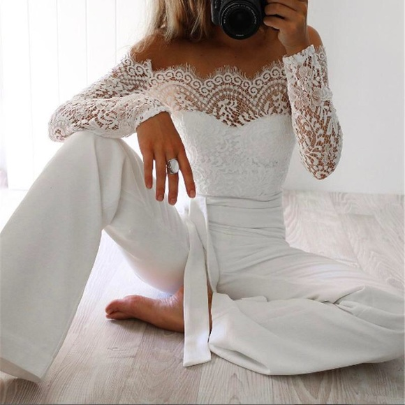 9f9644923f4a Stunning White Jumpsuit — Brand New in Packaging. M 5aa740746bf5a6b9376632d4